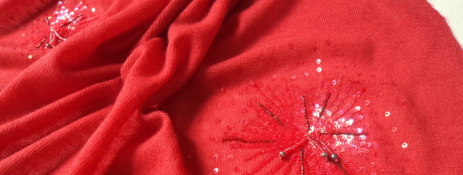 100% Pashmina Cashmere Fine Knit Shawl with Starburst Sequins
